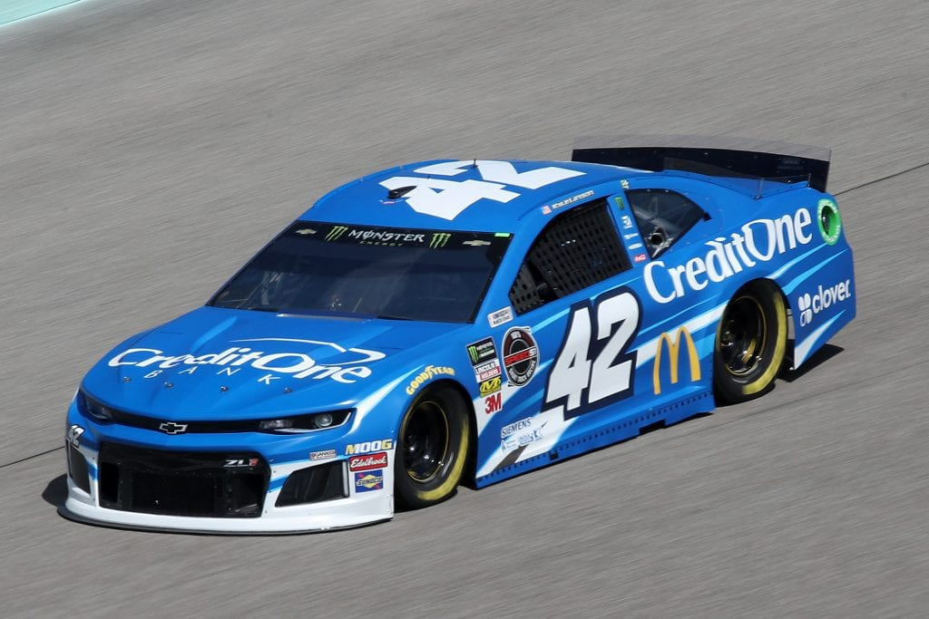 HOMESTEAD, FLORIDA - NOVEMBER 16: Kyle Larson, driver of the #42 Credit One Bank Chevrolet, drives during practice for the Monster Energy NASCAR Cup Series Ford EcoBoost 400 at Homestead-Miami Speedway on November 16, 2019 in Homestead, Florida. (Photo by Chris Graythen/Getty Images) | Getty Images