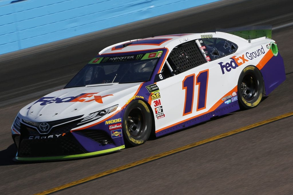 AVONDALE, ARIZONA - NOVEMBER 08: Denny Hamlin, driver of the #11 FedEx Ground Toyota, practices for the Monster Energy NASCAR Cup Series Bluegreen Vacations 500 at ISM Raceway on November 08, 2019 in Avondale, Arizona. (Photo by Jonathan Ferrey/Getty Images) | Getty Images