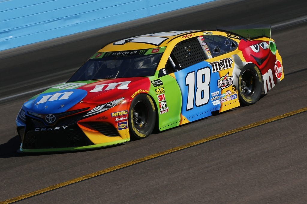 AVONDALE, ARIZONA - NOVEMBER 08: Kyle Busch, driver of the #18 M&M's Toyota, practices for the Monster Energy NASCAR Cup Series Bluegreen Vacations 500 at ISM Raceway on November 08, 2019 in Avondale, Arizona. (Photo by Jonathan Ferrey/Getty Images) | Getty Images