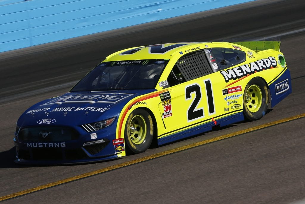 AVONDALE, ARIZONA - NOVEMBER 08: Paul Menard, driver of the #21 Menards/Maytag Ford, practices for the Monster Energy NASCAR Cup Series Bluegreen Vacations 500 at ISM Raceway on November 08, 2019 in Avondale, Arizona. (Photo by Jonathan Ferrey/Getty Images) | Getty Images
