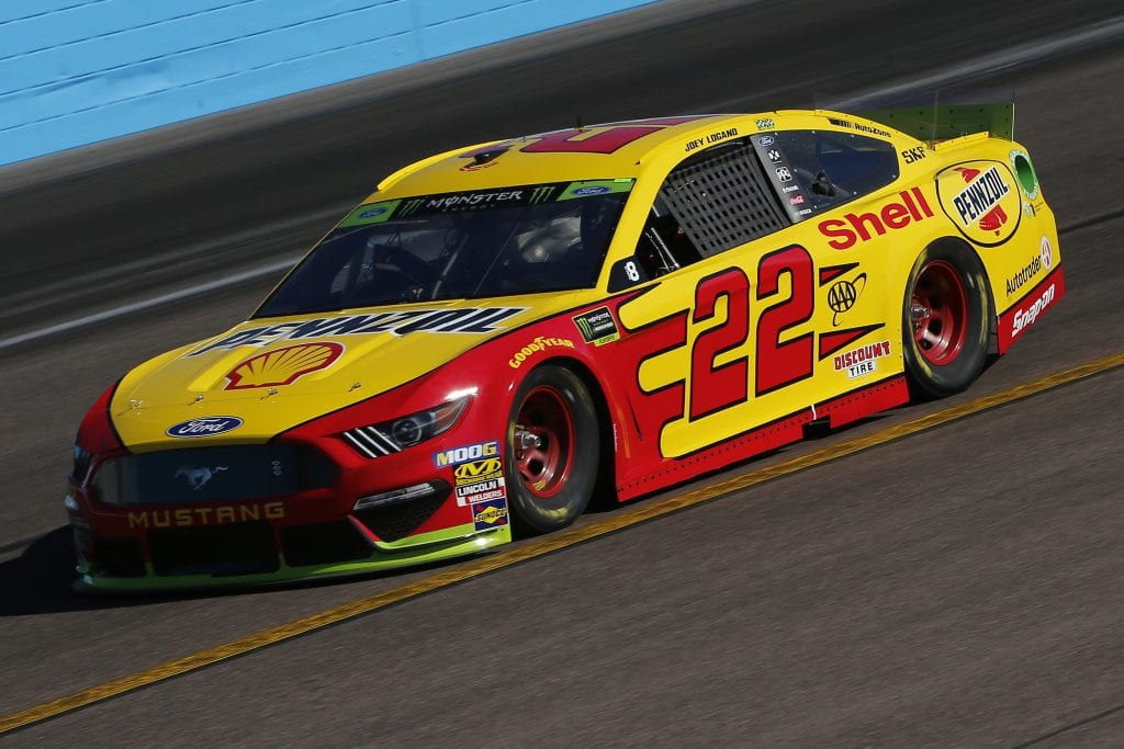 AVONDALE, ARIZONA - NOVEMBER 08: Joey Logano, driver of the #22 Shell Pennzoil Ford, practices for the Monster Energy NASCAR Cup Series Bluegreen Vacations 500 at ISM Raceway on November 08, 2019 in Avondale, Arizona. (Photo by Jonathan Ferrey/Getty Images) | Getty Images