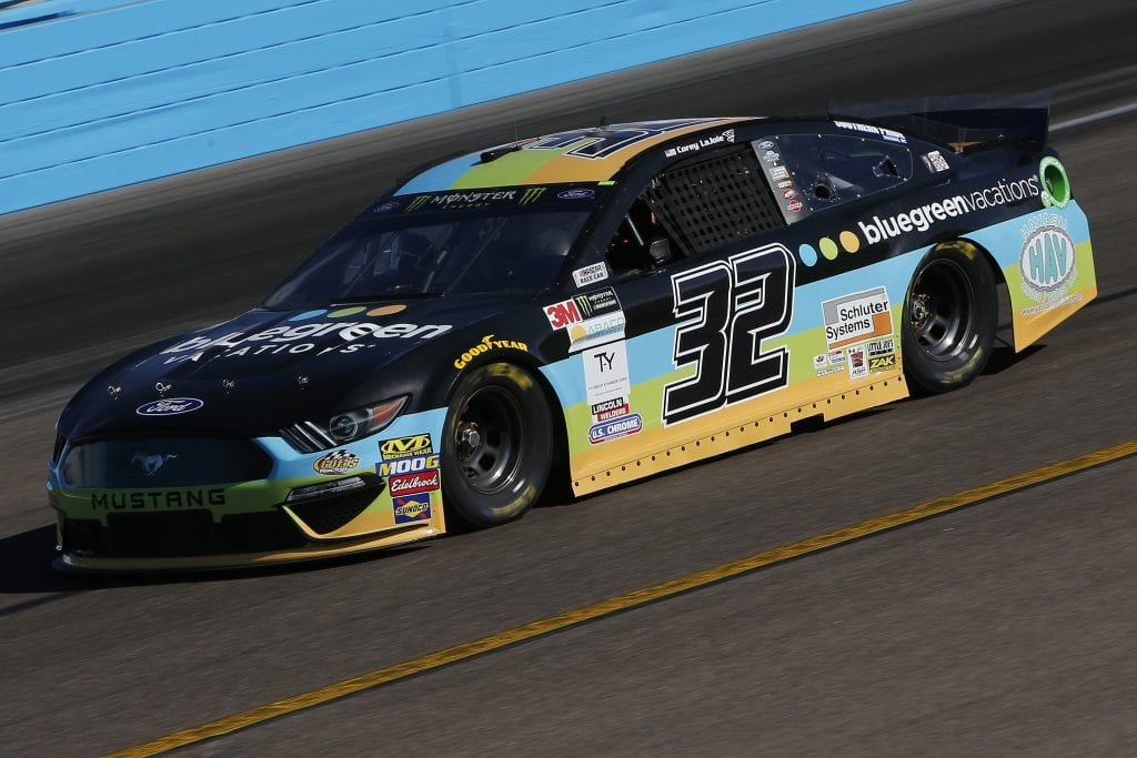 AVONDALE, ARIZONA - NOVEMBER 08: Corey LaJoie, driver of the #32 Bluegreen Vacations Ford, practices for the Monster Energy NASCAR Cup Series Bluegreen Vacations 500 at ISM Raceway on November 08, 2019 in Avondale, Arizona. (Photo by Jonathan Ferrey/Getty Images) | Getty Images