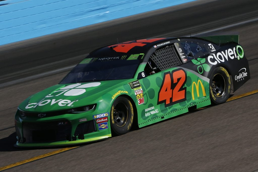AVONDALE, ARIZONA - NOVEMBER 08: Kyle Larson, driver of the #42 Clover Chevrolet, practices for the Monster Energy NASCAR Cup Series Bluegreen Vacations 500 at ISM Raceway on November 08, 2019 in Avondale, Arizona. (Photo by Jonathan Ferrey/Getty Images) | Getty Images
