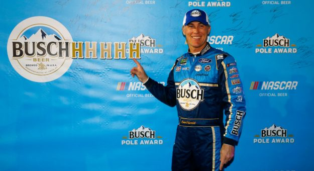 FORT WORTH, TEXAS - NOVEMBER 02: Kevin Harvick, driver of the #4 Busch Beer/Ducks Unlimited Ford, poses with the Pole Award after posting the quickest lap during the Salute to Veterans Qualifying Day Fueled by The Texas Lottery for the Monster Energy NASCAR Cup Series AAA Texas 500 at Texas Motor Speedway on November 02, 2019 in Fort Worth, Texas. (Photo by Jonathan Ferrey/Getty Images) | Getty Images