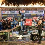 FORT WORTH, TEXAS - NOVEMBER 03: Kevin Harvick, driver of the #4 Busch Beer/Ducks Unlimited Ford, celebrates in Victory Lane after winning the Monster Energy NASCAR Cup Series AAA Texas 500 at Texas Motor Speedway on November 03, 2019 in Fort Worth, Texas. (Photo by Jared C. Tilton/Getty Images) | Getty Images