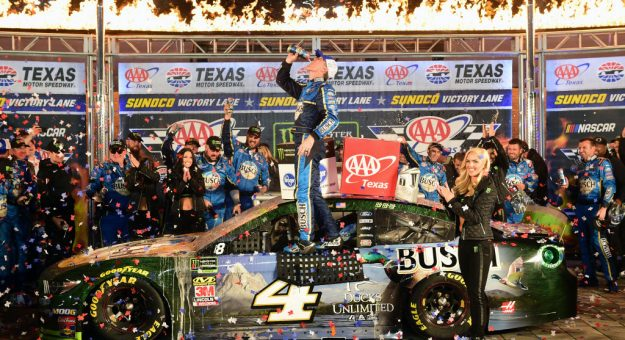 FORT WORTH, TEXAS - NOVEMBER 03: Kevin Harvick, driver of the #4 Busch Beer/Ducks Unlimited Ford, celebrates in Victory Lane after winning the Monster Energy NASCAR Cup Series AAA Texas 500 at Texas Motor Speedway on November 03, 2019 in Fort Worth, Texas. (Photo by Jared C. Tilton/Getty Images)   Getty Images