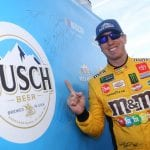 AVONDALE, ARIZONA - NOVEMBER 09: Kyle Busch, driver of the #18 M&M's Toyota, poses with the pole award after qualifying for the Monster Energy NASCAR Cup Series Bluegreen Vacations 500 at ISM Raceway on November 09, 2019 in Avondale, Arizona. (Photo by Matt Sullivan/Getty Images)   Getty Images