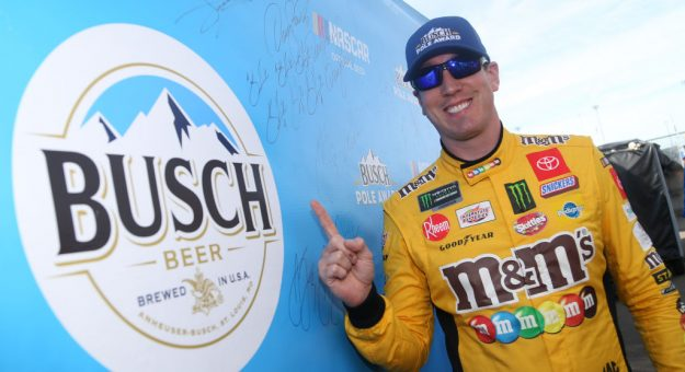 AVONDALE, ARIZONA - NOVEMBER 09: Kyle Busch, driver of the #18 M&M's Toyota, poses with the pole award after qualifying for the Monster Energy NASCAR Cup Series Bluegreen Vacations 500 at ISM Raceway on November 09, 2019 in Avondale, Arizona. (Photo by Matt Sullivan/Getty Images) | Getty Images