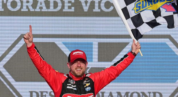 AVONDALE, ARIZONA - NOVEMBER 09: Justin Allgaier, driver of the #7 BRANDT Professional Agriculture Chevrolet, celebrates in Victory Lane after winning the NASCAR Xfinity Series Desert Diamond Casino West Valley 200 at ISM Raceway on November 09, 2019 in Avondale, Arizona. (Photo by Jared C. Tilton/Getty Images) | Getty Images