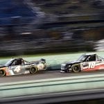 HOMESTEAD, FLORIDA - NOVEMBER 15: Todd Gilliland, driver of the #4 JBL/SiriusXM Toyota, leads Harrison Burton, driver of the #18 Safelite AutoGlass Toyota, during the NASCAR Gander Outdoors Truck Series Ford EcoBoost 200 at Homestead-Miami Speedway on November 15, 2019 in Homestead, Florida. (Photo by Jared C. Tilton/Getty Images) | Getty Images