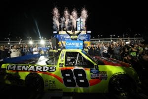 HOMESTEAD, FLORIDA - NOVEMBER 15: Matt Crafton, driver of the #88 Jack Links/Menards Ford, celebrates winning the NASCAR Gander Outdoors Truck Series Championship at Homestead-Miami Speedway on November 15, 2019 in Homestead, Florida. (Photo by Chris Graythen/Getty Images) | Getty Images
