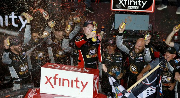 HOMESTEAD, FLORIDA - NOVEMBER 16: Tyler Reddick, driver of the #2 Tame the Beast Chevrolet, celebrates winning the NASCAR Xfinity Series Championship after the NASCAR Xfinity Series Ford EcoBoost 300 at Homestead-Miami Speedway on November 16, 2019 in Homestead, Florida. (Photo by Sean Gardner/Getty Images) | Getty Images