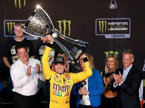 HOMESTEAD, FLORIDA - NOVEMBER 17: Kyle Busch, driver of the #18 M&M's Toyota, celebrates in victory lane after winning the Monster Energy NASCAR Cup Series Championship and the Monster Energy NASCAR Cup Series Ford EcoBoost 400 at Homestead Speedway on November 17, 2019 in Homestead, Florida. (Photo by Sean Gardner/Getty Images) | Getty Images