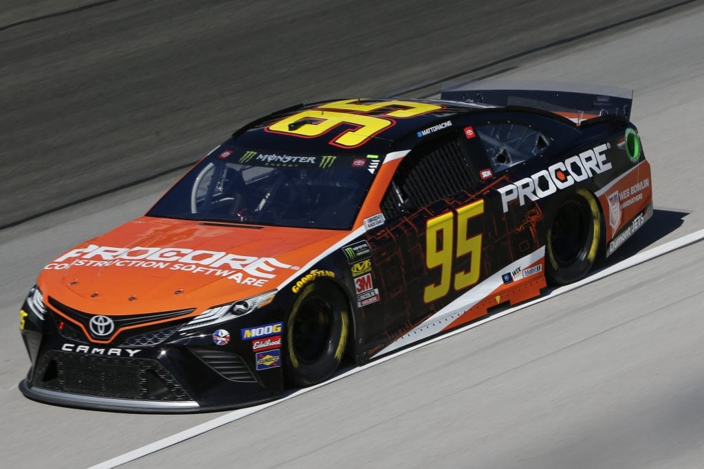 FORT WORTH, TEXAS - NOVEMBER 01: Matt DiBenedetto, driver of the #95 Procore Toyota, practices for the Monster Energy NASCAR Cup Series AAA Texas 500 at Texas Motor Speedway on November 01, 2019 in Fort Worth, Texas. (Photo by Jonathan Ferrey/Getty Images) | Getty Images