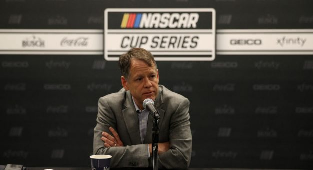 NASHVILLE, TENNESSEE - DECEMBER 05: Daryl Wolfe, NASCAR Executive Vice President and Chief Sales & Operations Office speaks with the media on December 05, 2019 in Nashville, Tennessee. (Photo by Chris Graythen/Getty Images) | Getty Images