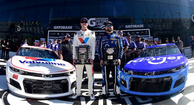 DAYTONA BEACH, FLORIDA - FEBRUARY 09: Ricky Stenhouse Jr., driver of the #47 Kroger Chevrolet, and Alex Bowman, driver of the #88 Valvoline Chevrolet, pose with the front row awards following qualifying for the NASCAR Cup Series 62nd Annual Daytona 500 at Daytona International Speedway on February 09, 2020 in Daytona Beach, Florida. Stenhouse Jr. posted the quickest lap during qualifying and will lead the field to the green flag. (Photo by Jared C. Tilton/Getty Images) | Getty Images