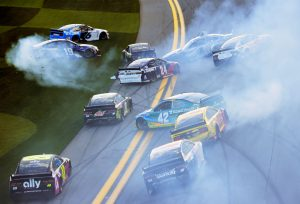DAYTONA BEACH, FLORIDA – FEBRUARY 09: A majority of the drivers in the field are involved in an on-track incident during the NASCAR Cup Series Busch Clash at Daytona International Speedway on February 09, 2020 in Daytona Beach, Florida. (Photo by Jared C. Tilton/Getty Images) | Getty Images