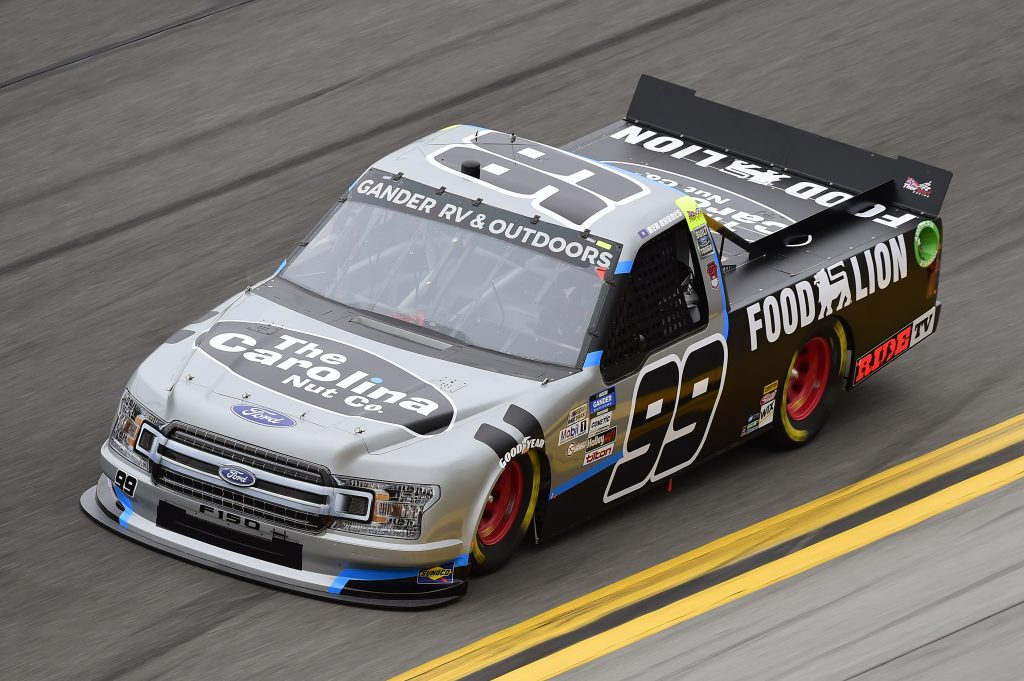 DAYTONA BEACH, FLORIDA - FEBRUARY 14: Ben Rhodes, driver of the #99 Food Lion/Carolina Nut Ford, qualifies for the NASCAR Gander RV & Outdoors Truck Series NextEra Energy 250 at Daytona International Speedway on February 14, 2020 in Daytona Beach, Florida. (Photo by Jared C. Tilton/Getty Images) | Getty Images