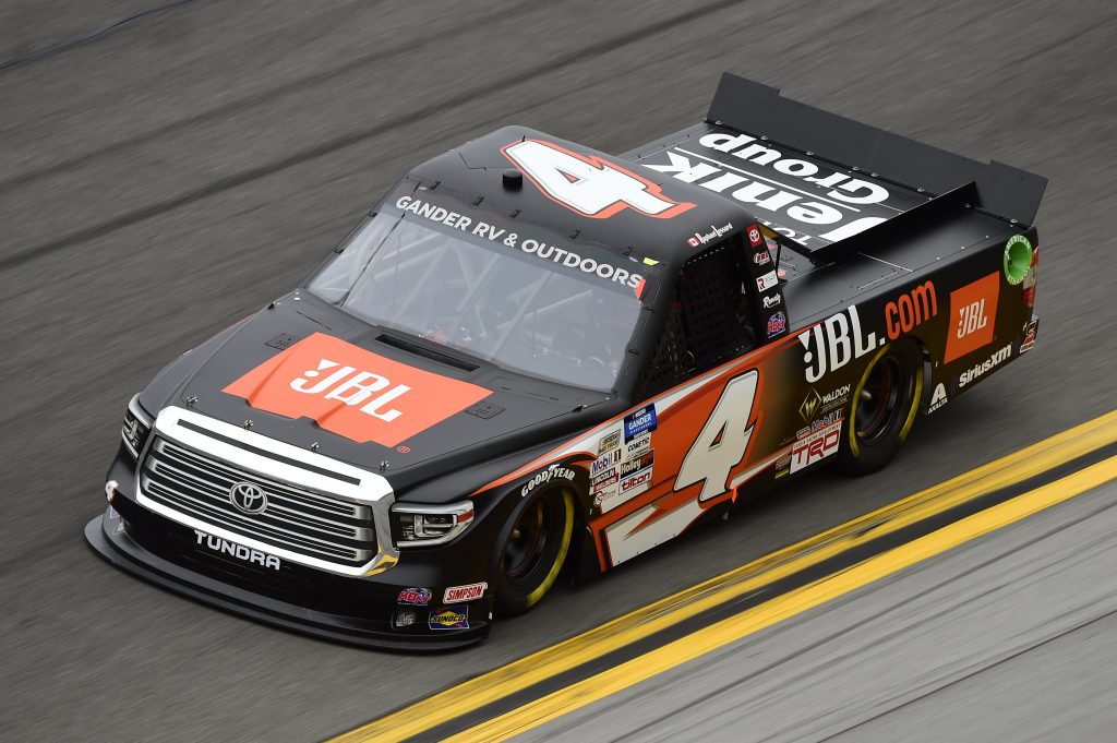 DAYTONA BEACH, FLORIDA - FEBRUARY 14: Raphael Lessard, driver of the #4 JBL Toyota, qualifies for the NASCAR Gander RV & Outdoors Truck Series NextEra Energy 250 at Daytona International Speedway on February 14, 2020 in Daytona Beach, Florida. (Photo by Jared C. Tilton/Getty Images) | Getty Images