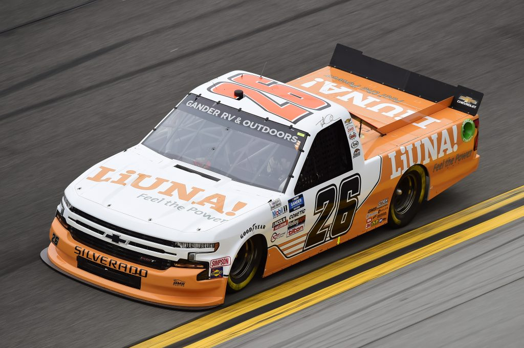 DAYTONA BEACH, FLORIDA - FEBRUARY 14: Tyler Ankrum, driver of the #26 Liuna! Chevrolet, qualifies for the NASCAR Gander RV & Outdoors Truck Series NextEra Energy 250 at Daytona International Speedway on February 14, 2020 in Daytona Beach, Florida. (Photo by Jared C. Tilton/Getty Images) | Getty Images