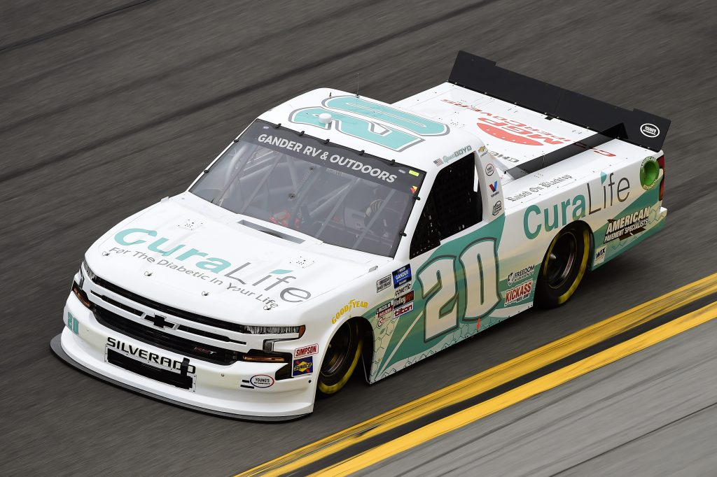 DAYTONA BEACH, FLORIDA - FEBRUARY 14: Spencer Boyd, driver of the #20 CuraLife Chevrolet, qualifies for the NASCAR Gander RV & Outdoors Truck Series NextEra Energy 250 at Daytona International Speedway on February 14, 2020 in Daytona Beach, Florida. (Photo by Jared C. Tilton/Getty Images) | Getty Images