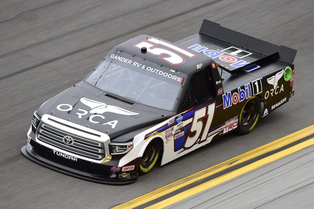 DAYTONA BEACH, FLORIDA - FEBRUARY 14: Riley Herbst, driver of the #51 Mobil 1 Toyota, qualifies for the NASCAR Gander RV & Outdoors Truck Series NextEra Energy 250 at Daytona International Speedway on February 14, 2020 in Daytona Beach, Florida. (Photo by Jared C. Tilton/Getty Images) | Getty Images