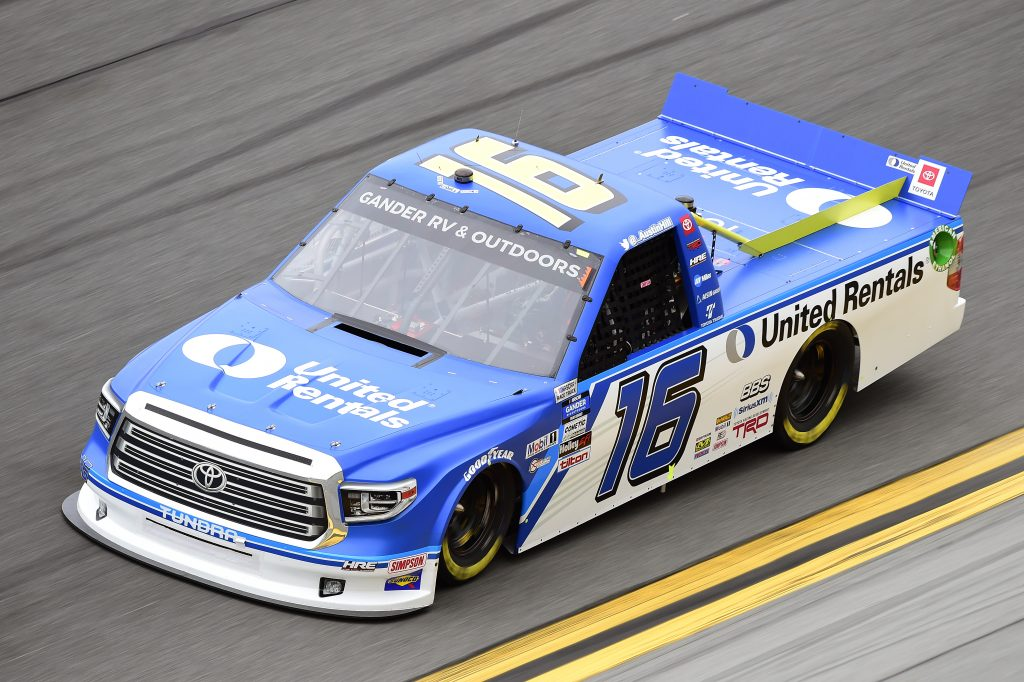DAYTONA BEACH, FLORIDA - FEBRUARY 14: Austin Hill, driver of the #16 United Rentals Toyota, qualifies for the NASCAR Gander RV & Outdoors Truck Series NextEra Energy 250 at Daytona International Speedway on February 14, 2020 in Daytona Beach, Florida. (Photo by Jared C. Tilton/Getty Images) | Getty Images