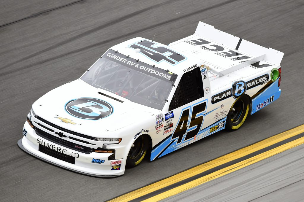 DAYTONA BEACH, FLORIDA - FEBRUARY 14: Ty Majeski, driver of the #45 Plan B Sales Chevrolet, qualifies for the NASCAR Gander RV & Outdoors Truck Series NextEra Energy 250 at Daytona International Speedway on February 14, 2020 in Daytona Beach, Florida. (Photo by Jared C. Tilton/Getty Images) | Getty Images