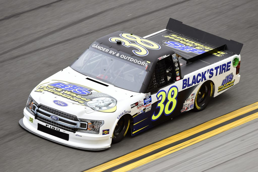 DAYTONA BEACH, FLORIDA - FEBRUARY 14: Todd Gilliland, driver of the #38 Black's Tire & Wheel Ford, qualifies for the NASCAR Gander RV & Outdoors Truck Series NextEra Energy 250 at Daytona International Speedway on February 14, 2020 in Daytona Beach, Florida. (Photo by Jared C. Tilton/Getty Images) | Getty Images