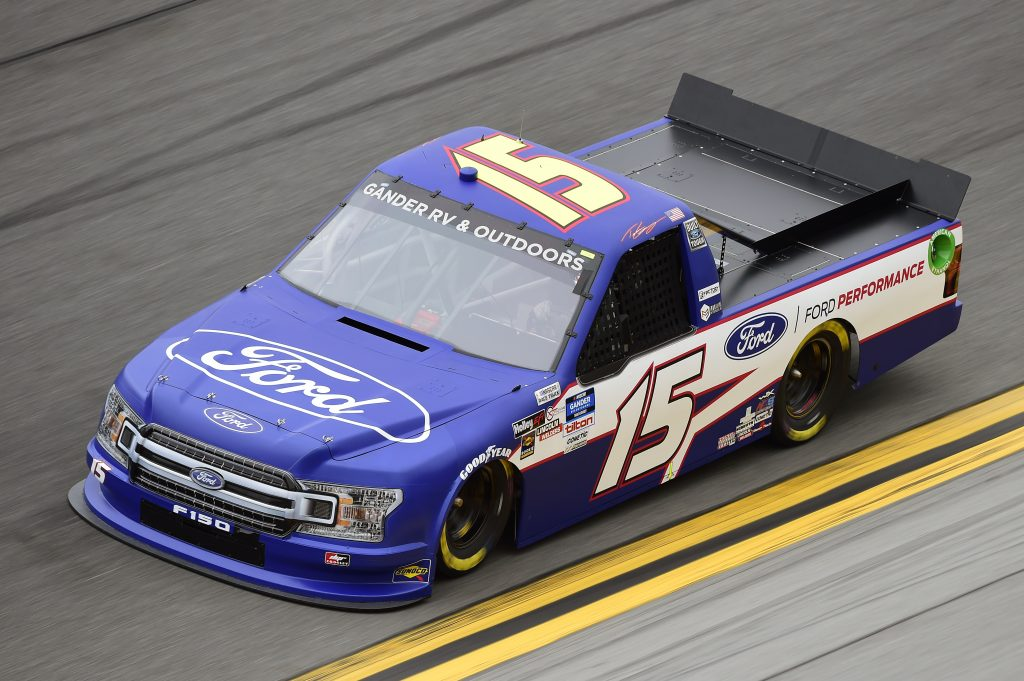 DAYTONA BEACH, FLORIDA - FEBRUARY 14: Tanner Gray, driver of the #15 Ford/Ford Performance Ford, qualifies for the NASCAR Gander RV & Outdoors Truck Series NextEra Energy 250 at Daytona International Speedway on February 14, 2020 in Daytona Beach, Florida. (Photo by Jared C. Tilton/Getty Images) | Getty Images
