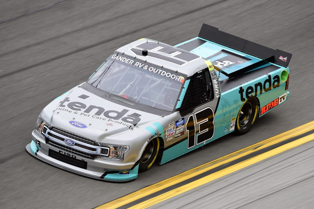 DAYTONA BEACH, FLORIDA - FEBRUARY 14: Johnny Sauter, driver of the #13 Tenda Ford, qualifies for the NASCAR Gander RV & Outdoors Truck Series NextEra Energy 250 at Daytona International Speedway on February 14, 2020 in Daytona Beach, Florida. (Photo by Jared C. Tilton/Getty Images) | Getty Images