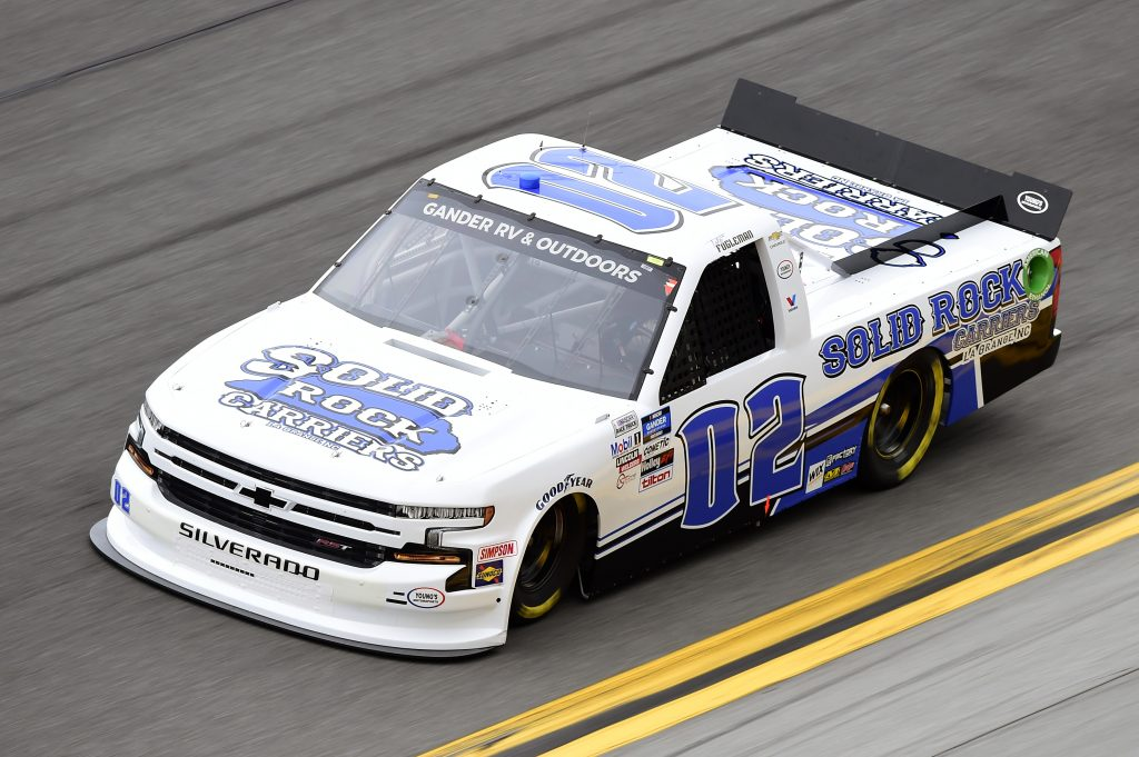 DAYTONA BEACH, FLORIDA - FEBRUARY 14: Tate Fogleman, driver of the #02 Solid Rock Carriers Chevrolet, qualifies for the NASCAR Gander RV & Outdoors Truck Series NextEra Energy 250 at Daytona International Speedway on February 14, 2020 in Daytona Beach, Florida. (Photo by Jared C. Tilton/Getty Images) | Getty Images