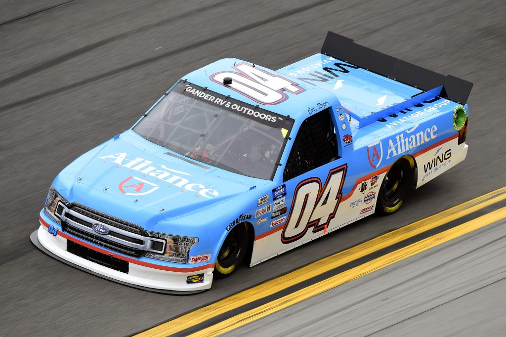 DAYTONA BEACH, FLORIDA - FEBRUARY 14: Cory Roper, driver of the #04 Alliance Aviation Ford, qualifies for the NASCAR Gander RV & Outdoors Truck Series NextEra Energy 250 at Daytona International Speedway on February 14, 2020 in Daytona Beach, Florida. (Photo by Jared C. Tilton/Getty Images) | Getty Images