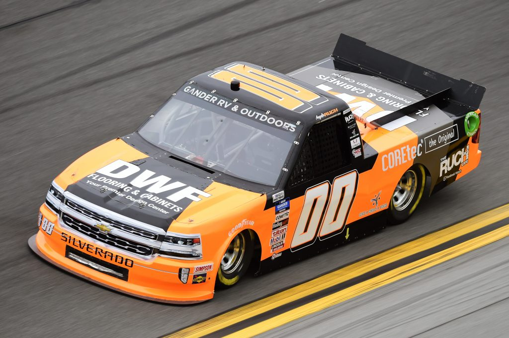 DAYTONA BEACH, FLORIDA - FEBRUARY 14: Angela Ruch, driver of the #00 DFW Flooring & Cabinets Chevrolet, qualifies for the NASCAR Gander RV & Outdoors Truck Series NextEra Energy 250 at Daytona International Speedway on February 14, 2020 in Daytona Beach, Florida. (Photo by Jared C. Tilton/Getty Images) | Getty Images