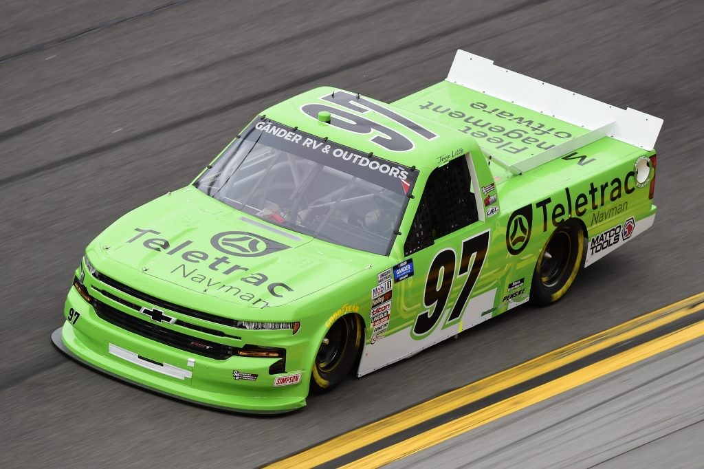 DAYTONA BEACH, FLORIDA - FEBRUARY 14: Jesse Little, driver of the #97 Teletrac Navman Chevrolet, qualifies for the NASCAR Gander RV & Outdoors Truck Series NextEra Energy 250 at Daytona International Speedway on February 14, 2020 in Daytona Beach, Florida. (Photo by Jared C. Tilton/Getty Images) | Getty Images