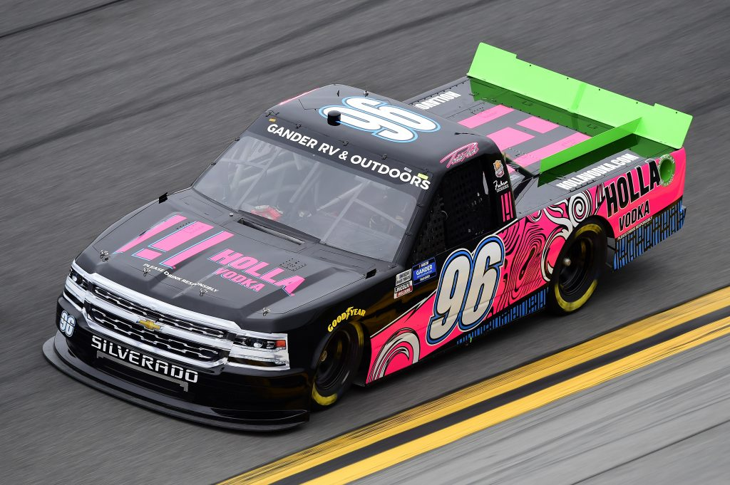 DAYTONA BEACH, FLORIDA - FEBRUARY 14: Todd Peck, driver of the #96 Holla Vodka Chevrolet, qualifies for the NASCAR Gander RV & Outdoors Truck Series NextEra Energy 250 at Daytona International Speedway on February 14, 2020 in Daytona Beach, Florida. (Photo by Jared C. Tilton/Getty Images) | Getty Images