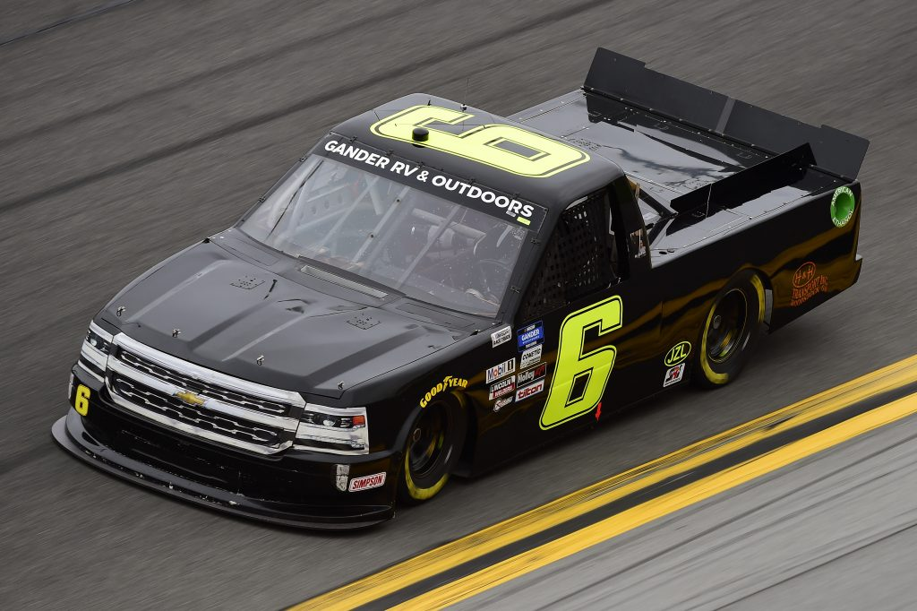 DAYTONA BEACH, FLORIDA - FEBRUARY 14: Norm Benning, driver of the #6 H & H Transport Chevrolet, qualifies for the NASCAR Gander RV & Outdoors Truck Series NextEra Energy 250 at Daytona International Speedway on February 14, 2020 in Daytona Beach, Florida. (Photo by Jared C. Tilton/Getty Images) | Getty Images
