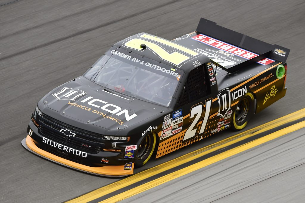 DAYTONA BEACH, FLORIDA - FEBRUARY 14: Zane Smith, driver of the #21 ICON Vehicle Dynamics Chevrolet, qualifies for the NASCAR Gander RV & Outdoors Truck Series NextEra Energy 250 at Daytona International Speedway on February 14, 2020 in Daytona Beach, Florida. (Photo by Jared C. Tilton/Getty Images) | Getty Images