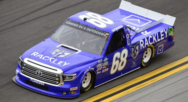 DAYTONA BEACH, FLORIDA - FEBRUARY 14: Clay Greenfield, driver of the #68 Rackley Roofing Toyota, qualifies for the NASCAR Gander RV & Outdoors Truck Series NextEra Energy 250 at Daytona International Speedway on February 14, 2020 in Daytona Beach, Florida. (Photo by Jared C. Tilton/Getty Images)   Getty Images