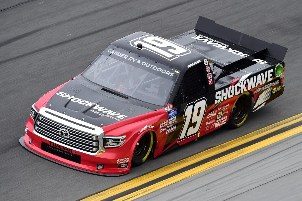 DAYTONA BEACH, FLORIDA - FEBRUARY 14: Derek Kraus, driver of the #19 SHOCKWAVE Toyota, qualifies for the NASCAR Gander RV & Outdoors Truck Series NextEra Energy 250 at Daytona International Speedway on February 14, 2020 in Daytona Beach, Florida. (Photo by Jared C. Tilton/Getty Images) | Getty Images