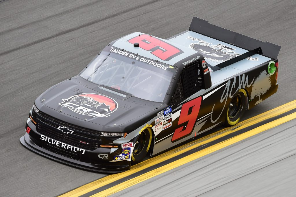 DAYTONA BEACH, FLORIDA - FEBRUARY 14: Codie Rohrbaugh, driver of the #9 GCM/CR7 Motorsports Chevrolet, qualifies for the NASCAR Gander RV & Outdoors Truck Series NextEra Energy 250 at Daytona International Speedway on February 14, 2020 in Daytona Beach, Florida. (Photo by Jared C. Tilton/Getty Images) | Getty Images