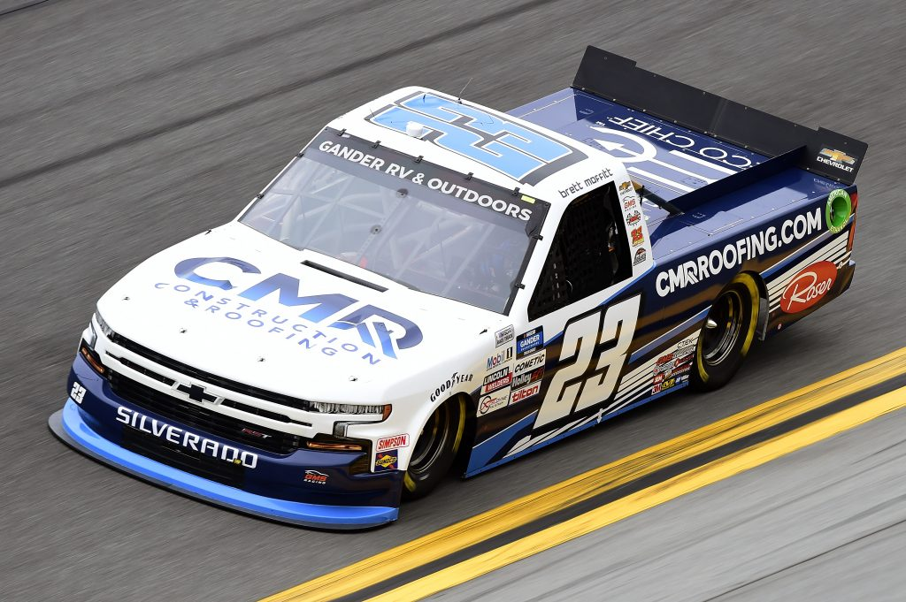 DAYTONA BEACH, FLORIDA - FEBRUARY 14: Brett Moffitt, driver of the #23 CMRroofing.com Chevrolet, qualifies for the NASCAR Gander RV & Outdoors Truck Series NextEra Energy 250 at Daytona International Speedway on February 14, 2020 in Daytona Beach, Florida. (Photo by Jared C. Tilton/Getty Images) | Getty Images