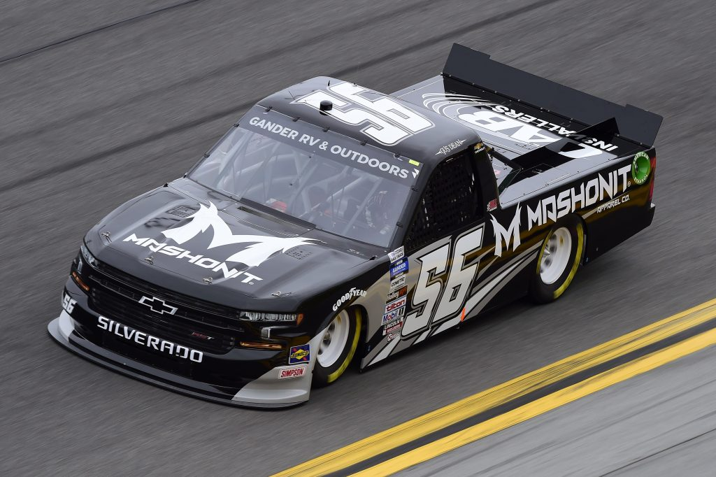 DAYTONA BEACH, FLORIDA - FEBRUARY 14: Gus Dean, driver of the #56 MASHONIT Chevrolet, qualifies for the NASCAR Gander RV & Outdoors Truck Series NextEra Energy 250 at Daytona International Speedway on February 14, 2020 in Daytona Beach, Florida. (Photo by Jared C. Tilton/Getty Images) | Getty Images