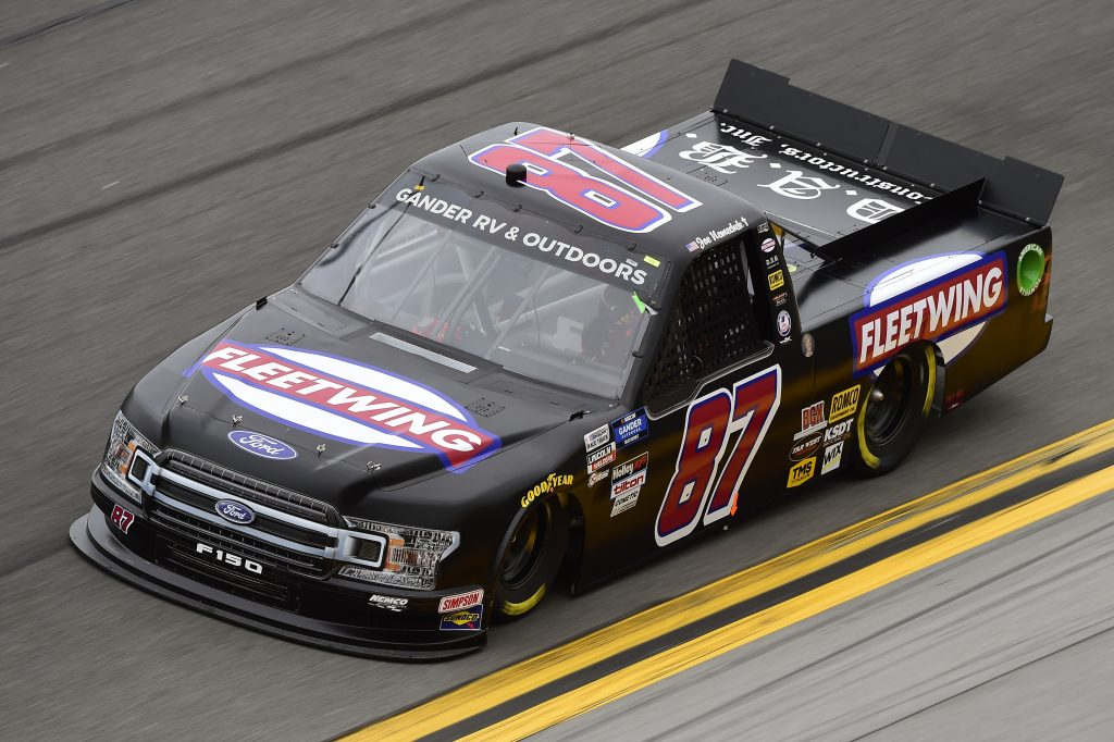 DAYTONA BEACH, FLORIDA - FEBRUARY 14: Joe Nemechek, driver of the #87 Fleetwing/DAB Ford, qualifies for the NASCAR Gander RV & Outdoors Truck Series NextEra Energy 250 at Daytona International Speedway on February 14, 2020 in Daytona Beach, Florida. (Photo by Jared C. Tilton/Getty Images) | Getty Images