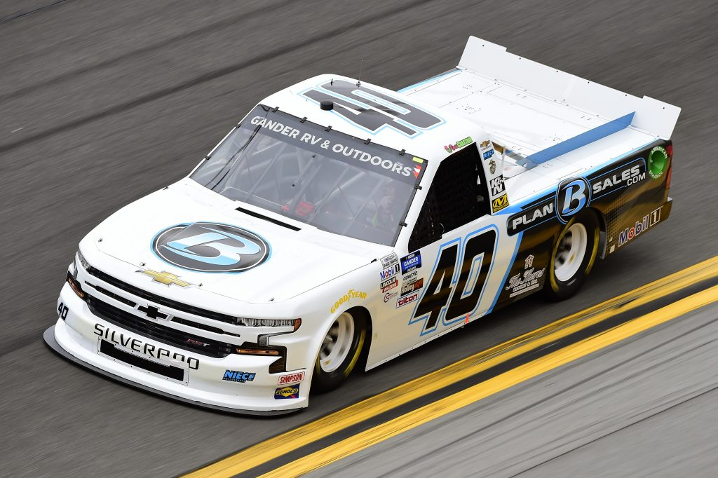 DAYTONA BEACH, FLORIDA - FEBRUARY 14: Ross Chastain, driver of the #40 Plan B Sales Chevrolet, qualifies for the NASCAR Gander RV & Outdoors Truck Series NextEra Energy 250 at Daytona International Speedway on February 14, 2020 in Daytona Beach, Florida. (Photo by Jared C. Tilton/Getty Images) | Getty Images