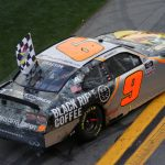 DAYTONA BEACH, FLORIDA - FEBRUARY 15: Noah Gragson, driver of the #9 Bass Pro Shops/BRCC Chevrolet, celebrates with the checkered flag after winning the NASCAR Xfinity Series NASCAR Racing Experience 300 at Daytona International Speedway on February 15, 2020 in Daytona Beach, Florida. (Photo by Chris Graythen/Getty Images) | Getty Images