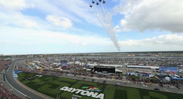 DAYTONA BEACH, FLORIDA - FEBRUARY 16: The Air Force Thunderbirds perform a flyover prior to the NASCAR Cup Series 62nd Annual Daytona 500 at Daytona International Speedway on February 16, 2020 in Daytona Beach, Florida. (Photo by Mike Ehrmann/Getty Images) | Getty Images