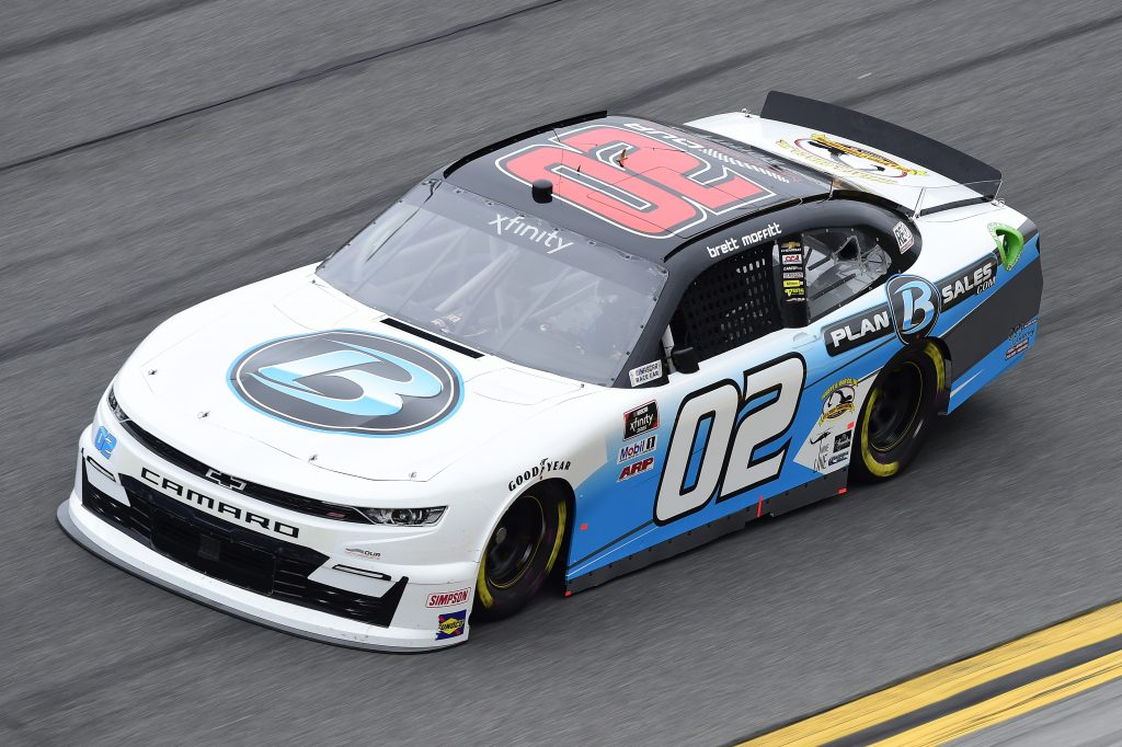 DAYTONA BEACH, FLORIDA - FEBRUARY 14: Brett Moffitt, driver of the #02 Plan B Sales Chevrolet, practices for the NASCAR Xfinity Series NASCAR Racing Experience 300 at Daytona International Speedway on February 14, 2020 in Daytona Beach, Florida. (Photo by Jared C. Tilton/Getty Images) | Getty Images