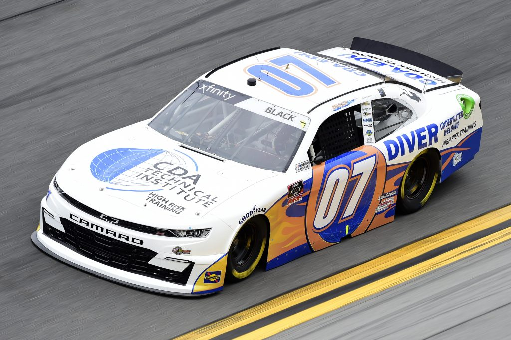 DAYTONA BEACH, FLORIDA - FEBRUARY 14: Ray Black II, driver of the #07 CDA Tech Chevrolet, practices for the NASCAR Xfinity Series NASCAR Racing Experience 300 at Daytona International Speedway on February 14, 2020 in Daytona Beach, Florida. (Photo by Jared C. Tilton/Getty Images) | Getty Images