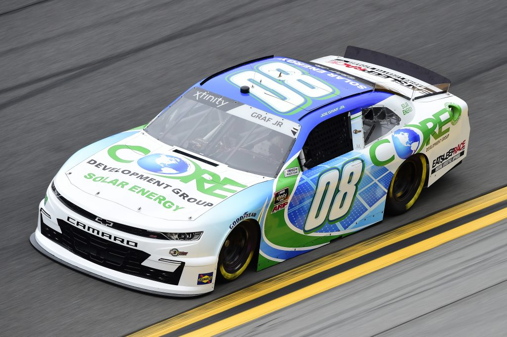 DAYTONA BEACH, FLORIDA - FEBRUARY 14: Joe Graf Jr, driver of the #08 CORE Development Group Chevrolet, practices for the NASCAR Xfinity Series NASCAR Racing Experience 300 at Daytona International Speedway on February 14, 2020 in Daytona Beach, Florida. (Photo by Jared C. Tilton/Getty Images) | Getty Images